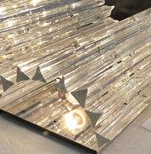 Triedri , ricambi per lampadari di Venini, con pezzi rotti, in vetro, color trasparente, lunghezza 28 cm, 10 cm e personalizzabile, base piatta, cioè taglio a 90 gradi