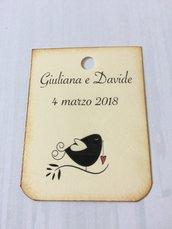 Bigliettini matrimonio bomboniera rettangolari con immagine - color avorio e angoli arrotondati