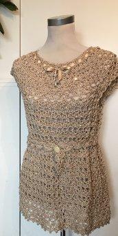 maglia beige in cotone e paillettes, idea regalo