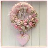 Fiocco nascita con tulipani e un cuore in cotone fantasia sui toni del rosa e beige con pizzo
