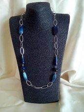 Collana Metallo e Agata Blu