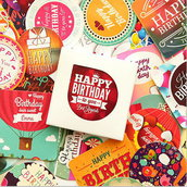 "LOTTO 38 stickers adesivi in carta ""happy birthday"" (4x4cm circa)"