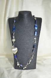 Collana in Metallo, Agata striata blu e cuore in argento indiano