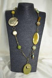 Collana in Metallo, Corniola, Giada e ammonite in argento indiano