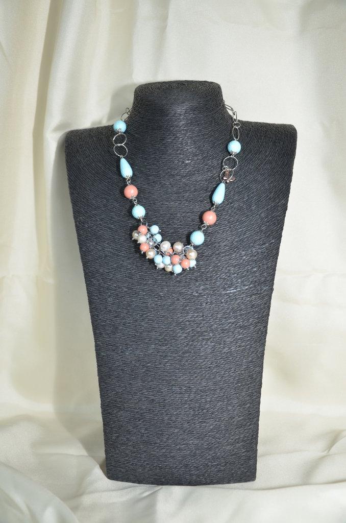 Collana con perle di Turchese e Corallo Bamboo rosa