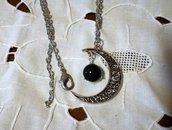 Collana luna con ciondolo cambiacolore o dell'umore ,in omaggio ciondolo segno zodiacale o iniziale