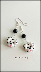 Orecchini in fimo cane dalmata, miniatura dalmata, idee regalo compleanno, regalo amanti cani, regalo cane, gioielli cani