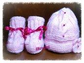 Completo bimba, cappellino piu' scarpette in misto lana.