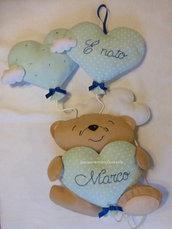 Fiocco nascita orsetto con palloncini in pannolenci