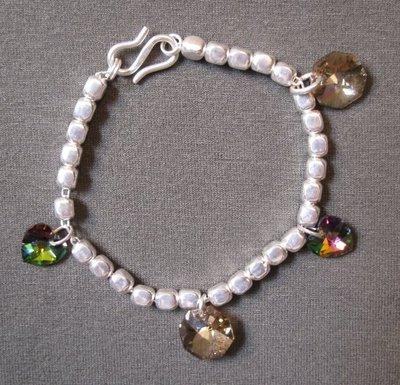 Bracciale con dadini in argento 925 e charms Swarowski