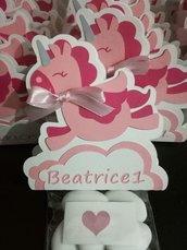 Scatolina completa bigliettino confetti unicorno nome personalizzabile nuvola bimba battesimo nascita evento