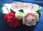 cesto in feltro e pannolenci con rose personalizzate