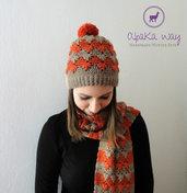 Completo invernale donna uncinetto // Berretto e sciarpa uncinetto // Cappello e sciarpa fatti a mano // Set da donna in lana di alpaca