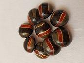 Bottoni vintage nero verde rosso e oro,bottoni con gambo 9 pezzi materiali
