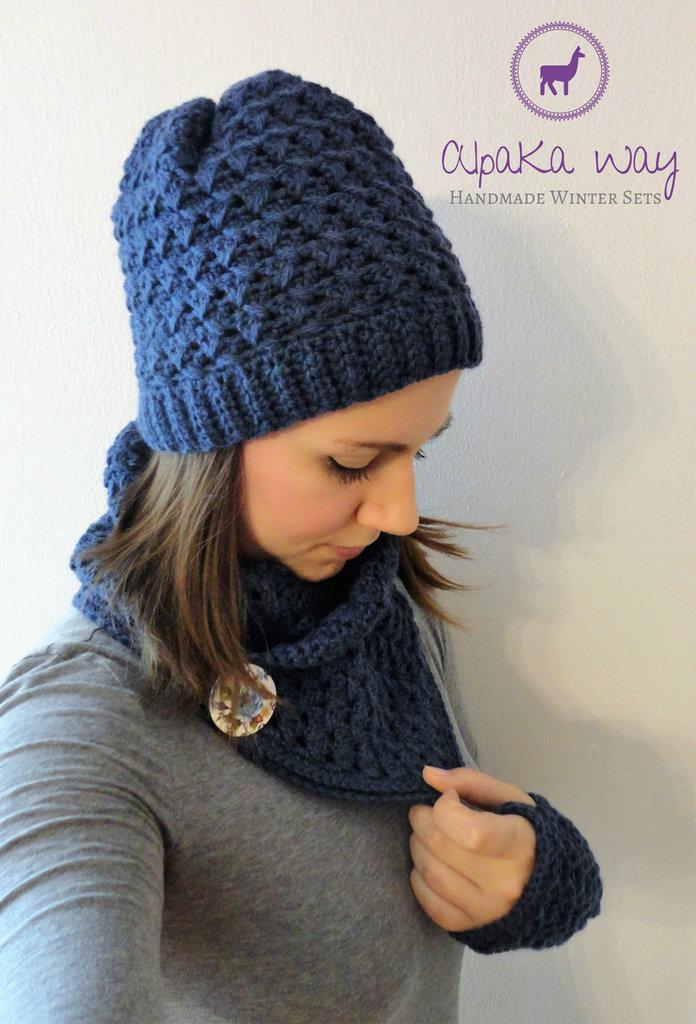 Completo donna uncinetto // Berretto, scaldacollo, mezzi guanti in lana ed alpaca // Set invernale fatto a mano // Completo fatto a mano