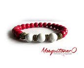 Bracciale da uomo con perle in pietra bianca e rossa, bracciale regalo,bracciale perle,bracciale ragazzo, per lui, regalo uomo,gioielli,