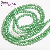Lotto 50 perline tonde in vetro cerato - 4mm - verde chiaro