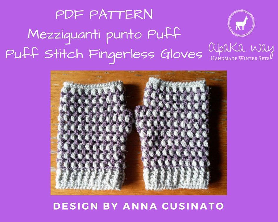 SCHEMA guanti senza dita uncinetto // Schema scaldamani punto puff // Pattern mezziguanti uncinetto // Pattern mezzi guanti donna uncinetto