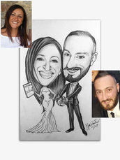 Caricatura da foto su commissione Caricatura sposi Matrimonio Bianco e Nero