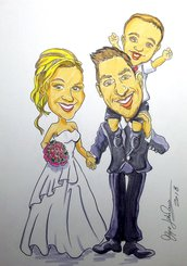Caricatura da foto su commissione Caricatura sposi Matrimonio a colori idea regalo originale