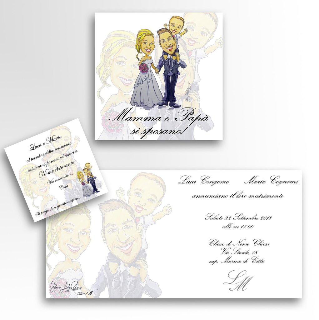 Partecipazioni Matrimonio Caricature.60 Partecipazioni Matrimonio Caricatura A Colori Sposi Inviti