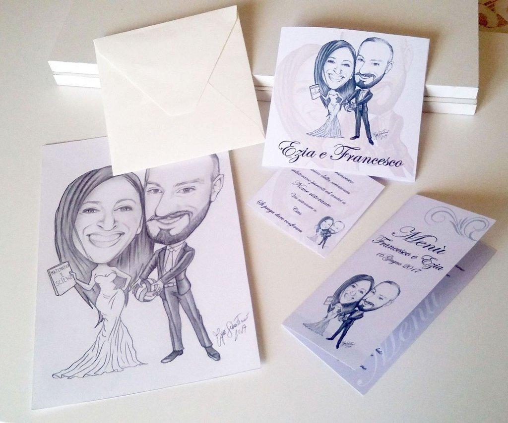Partecipazioni Matrimonio Caricature.30 Partecipazioni Matrimonio 30 Menu Caricatura Sposi Inviti