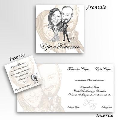 Partecipazioni Matrimonio Caricature.30 Partecipazioni Matrimonio Caricatura Sposi Inviti