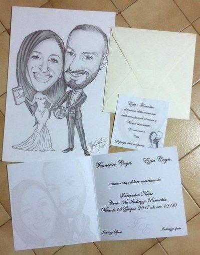 Partecipazioni Matrimonio Caricature.60 Partecipazioni Matrimonio Caricatura Sposi Inviti