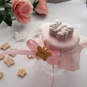 Bomboniera barattolo vetro per battesimo o comunione con farfalla
