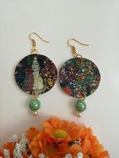 """Orecchini di carta pendenti Gustav Klimt """"Tha dancer"""" con perline"""