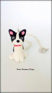 Collana Bulldog francese in fimo, bijoux bulldog, collana cane, gioielli cani, regalo cane, appassionati di cani