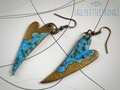 Orecchini pendenti a forma di cuore oro e azzurro