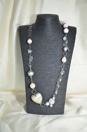 Collana in metallo con Quarzo rosa