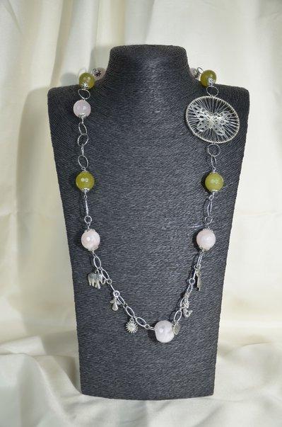 Collana in metallo con Giada verde e quarzo rinforzato