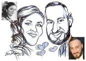 Caricatura da foto su commissione sposi Matrimonio a colori o BN primi piani