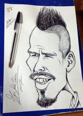 Disegno caricatura Marek Hamsik a penna nera Napoli ritratto caricature calcio