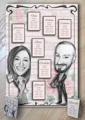 Tableau Mariage Matrimonio a tema caricatura sposi personalizzata FOREX 70X100cm