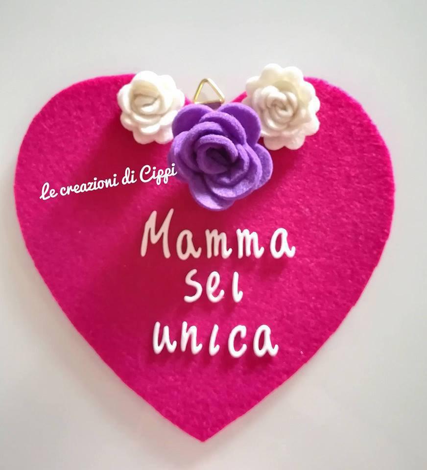 Cuore personalizzato con frase, in feltro. idea regalo festa della mamma.