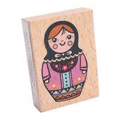 Timbri in legno e gomma disegno bambolina russa