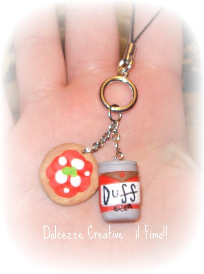 ★★SALDI Phone Strap ciondolo er cellulare  Duff - homer simpson con pizza :) very kawaii