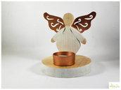 porta tealight angelo in legno con ali in rame, porta candela