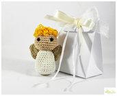 bomboniera angioletto amigurumi con scatolina, bomboniera battesimo, comunione, nascita, cresima, porta confetti .
