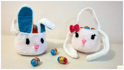 cestino coniglietto / coniglietta ad uncinetto porta ovetti, regalo Pasqua, cestino pasquale