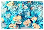 inserzione personale per 30 sacchetti portachiavi piedini con confetti ricotta e pera