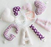 Gaia: una ghirlanda di lettere di stoffa per decorare la cameretta con il so nome e qualche foto ricordo!