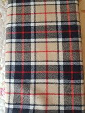Tartan originale in pura lana,taglio di tessuto 1 metro alto 150 cm, nero rosso beige bianco