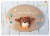 Targa fuoriporta con orsetto, fuoriporta cameretta, fuoriporta per bambino, regalo per bambino, targhetta ovale orso