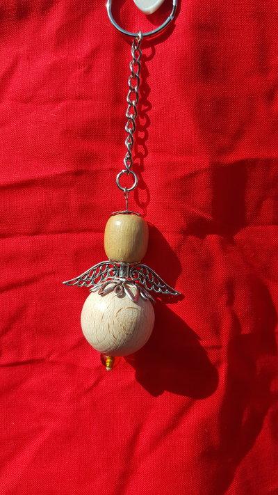 Angelo portafortuna legno
