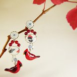 Orecchini uccellini rossi agata corniola - orecchini cardinali rossi - orecchini pietre naturali - gioielli uccellini - gioielli boho