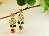 Orecchini arance agata verde tessuto - orecchini arance - orecchini originali - gioielli frutta - gioielli barocco - orecchini frutta